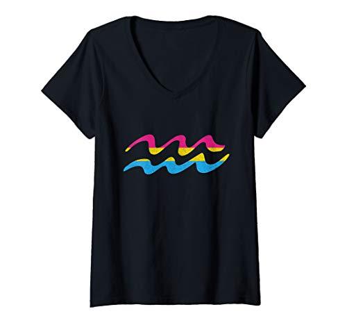 Womens Pansexual Pride Flag Aquarius Zodiac Sign V-Neck T-Shirt