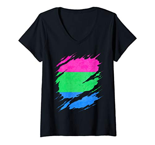 Womens Polysexual Pride Ripped Reveal V-Neck T-Shirt