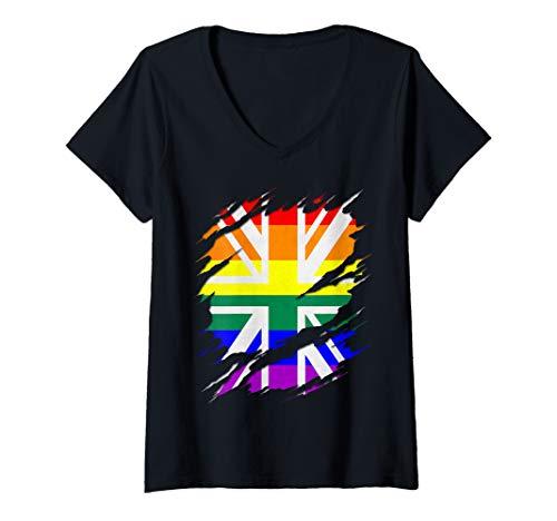 Womens Rainbow Union Jack Ripped Reveal V-Neck T-Shirt