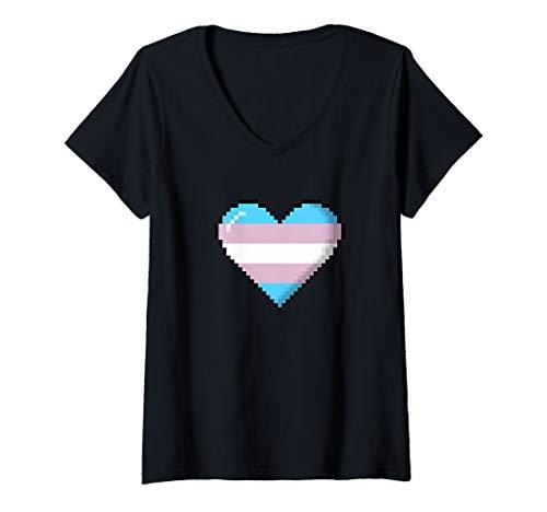 Womens Transgender Pride 8-Bit Pixel Heart V-Neck T-Shirt
