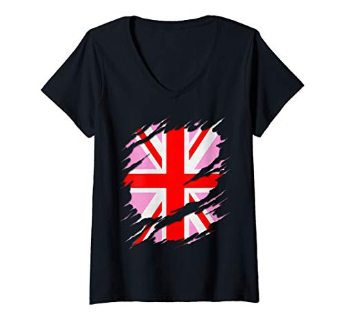 Womens UK Pink Jack Ripped Reveal V-Neck T-Shirt