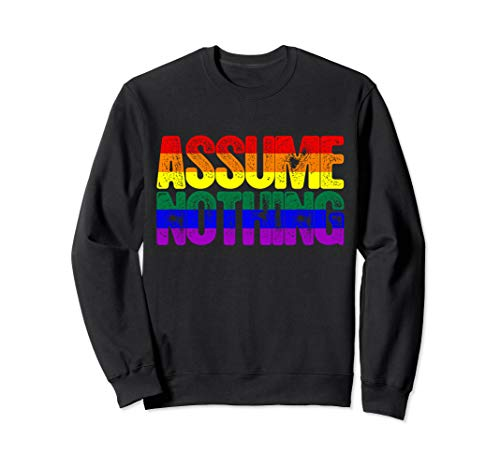 Assume Nothing LGBTQ Rainbow Gay Pride Flag Sweatshirt