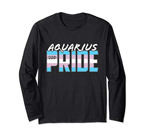 Aquarius Transgender Pride Flag Zodiac Sign Long Sleeve T-Shirt