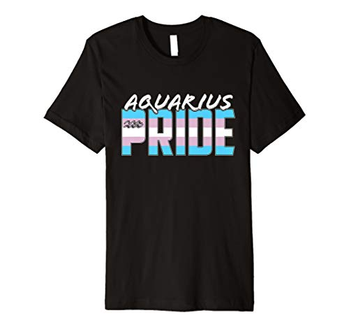 Aquarius Transgender Pride Flag Zodiac Sign Premium T-Shirt