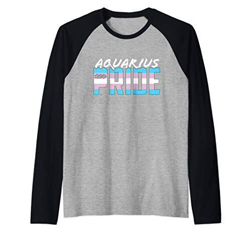 Aquarius Transgender Pride Flag Zodiac Sign Raglan Baseball Tee