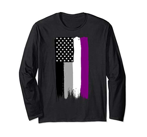 Asexual Pride Flag Stars and Stripes Flag Long Sleeve T-Shirt