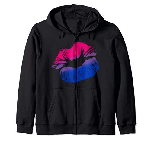 Bisexual Pride Big Kissing Lips Zip Hoodie
