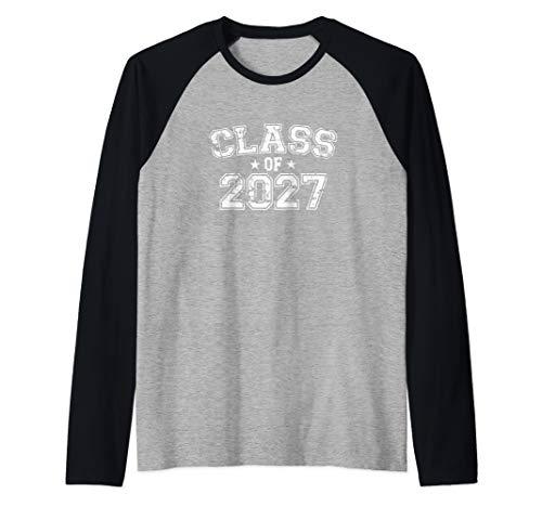 Distressed Class of 2027 Raglan Baseball Tee