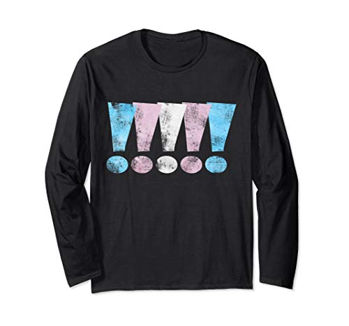 Distressed Transgender Pride Graphic Exclamation Points Long Sleeve T-Shirt