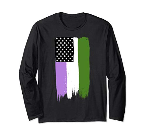 Genderqueer Pride Flag Stars and Stripes Flag Long Sleeve T-Shirt