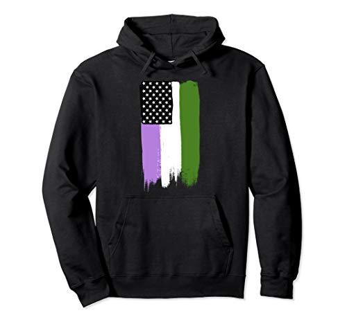 Genderqueer Pride Flag Stars and Stripes Flag Pullover Hoodie