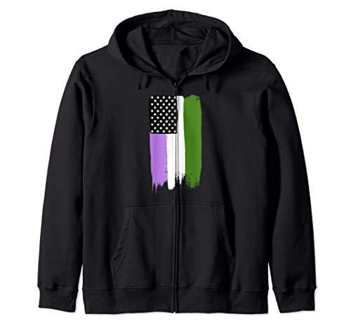 Genderqueer Pride Flag Stars and Stripes Flag Zip Hoodie