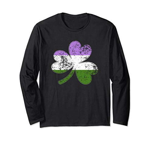 Genderqueer Shamrock Pride Flag Long Sleeve T-Shirt