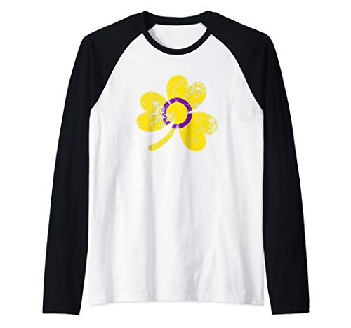 Intersex Shamrock Pride Flag Raglan Baseball Tee