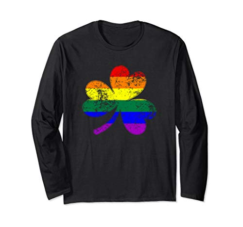 LGBTQ Shamrock Pride Flag Long Sleeve T-Shirt