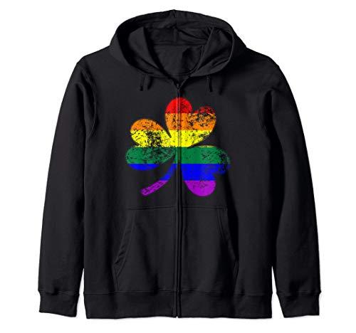 LGBTQ Shamrock Pride Flag Zip Hoodie