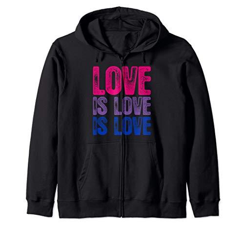 Love is Love is Love Bisexual Pride Zip Hoodie