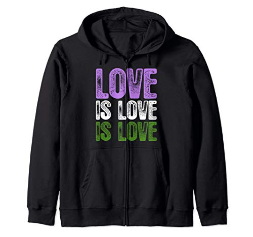 Love is Love is Love Genderqueer Pride Zip Hoodie