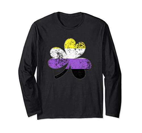 Nonbinary Shamrock Pride Flag Long Sleeve T-Shirt