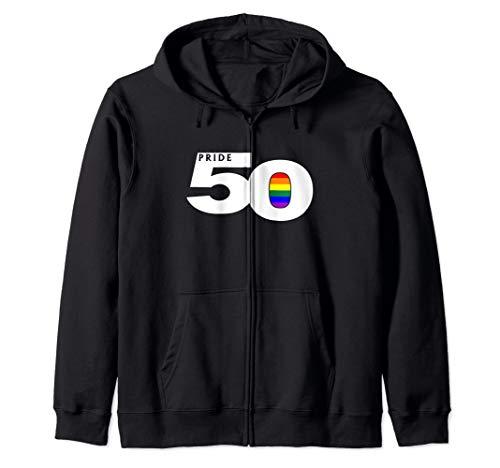 Pride 50 LGBTQ Gay Pride Flag Zip Hoodie