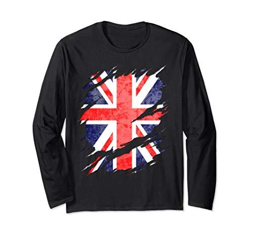 UK Union Jack Flag Ripped Reveal Long Sleeve T-Shirt