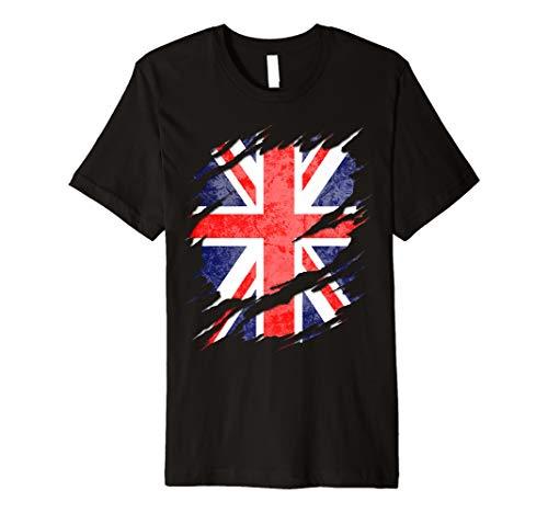 UK Union Jack Flag Ripped Reveal Premium T-Shirt