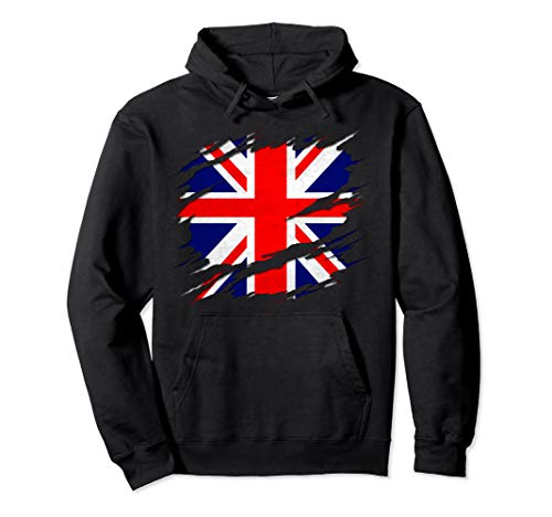 UK Union Jack Flag Ripped Reveal Pullover Hoodie