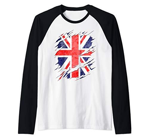 UK Union Jack Flag Ripped Reveal Raglan Baseball Tee