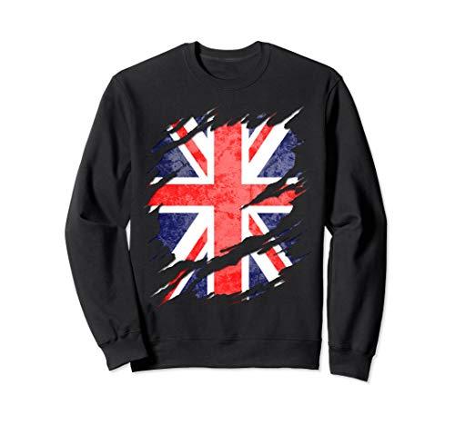 UK Union Jack Flag Ripped Reveal Sweatshirt