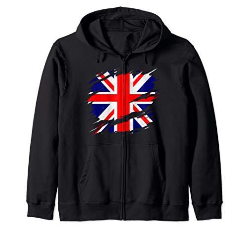 UK Union Jack Flag Ripped Reveal Zip Hoodie
