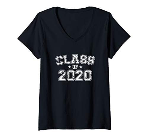 Womens Distressed Class of 2020 V-Neck T-Shirt