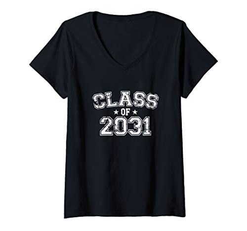 Womens Distressed Class of 2031 V-Neck T-Shirt