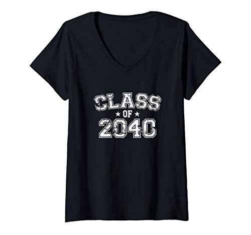 Womens Distressed Class of 2040 V-Neck T-Shirt
