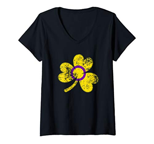 Womens Intersex Shamrock Pride Flag V-Neck T-Shirt