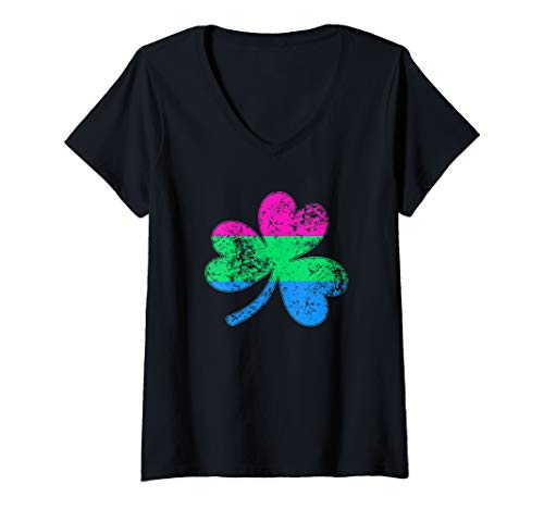 Womens Polysexual Shamrock Pride Flag V-Neck T-Shirt