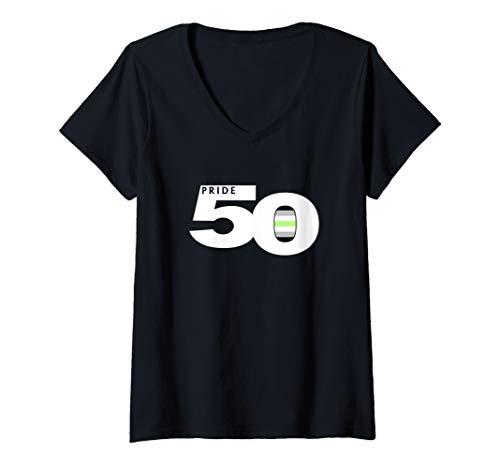 Womens Pride 50 Agender Pride Flag V-Neck T-Shirt
