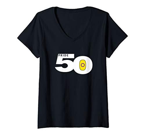 Womens Pride 50 Intersex Pride Flag V-Neck T-Shirt