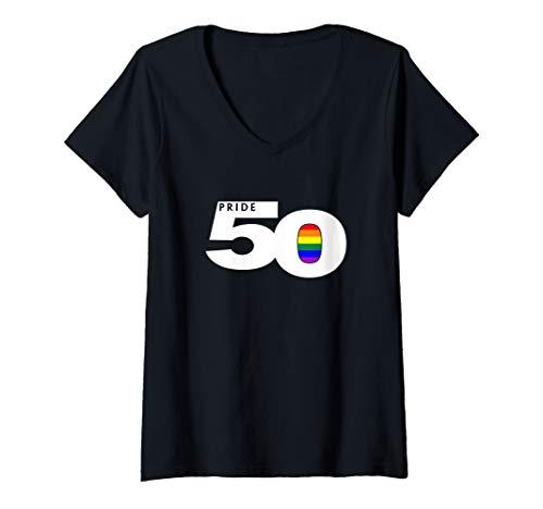 Womens Pride 50 LGBTQ Gay Pride Flag V-Neck T-Shirt
