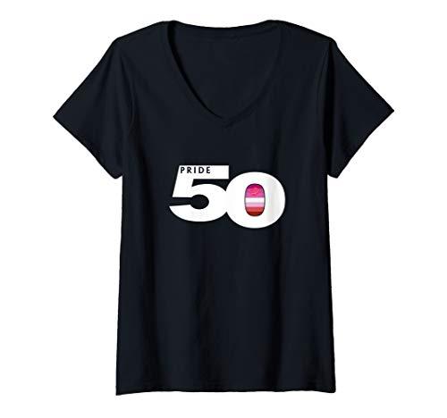Womens Pride 50 Lipstick Lesbian Pride Flag V-Neck T-Shirt