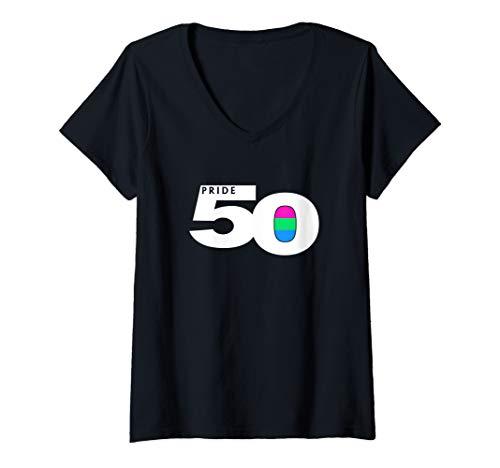 Womens Pride 50 Polysexual Pride Flag V-Neck T-Shirt