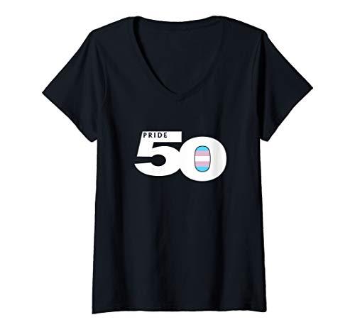 Womens Pride 50 Transgender Pride Flag V-Neck T-Shirt