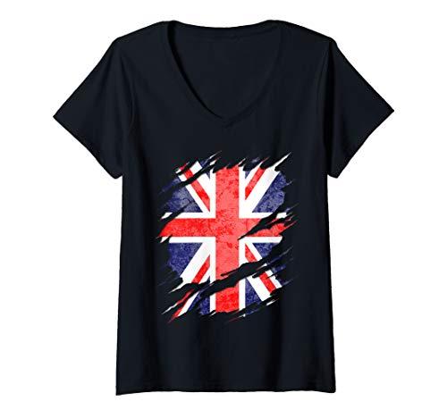 Womens UK Union Jack Flag Ripped Reveal V-Neck T-Shirt