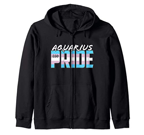 Aquarius Transgender Pride Flag Zodiac Sign Zip Hoodie