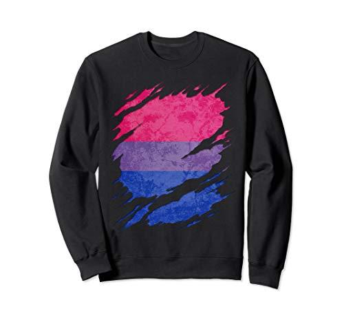 Bisexual Pride Flag Ripped Reveal Sweatshirt