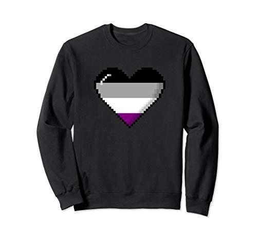 Asexual Pride 8-Bit Pixel Heart Sweatshirt