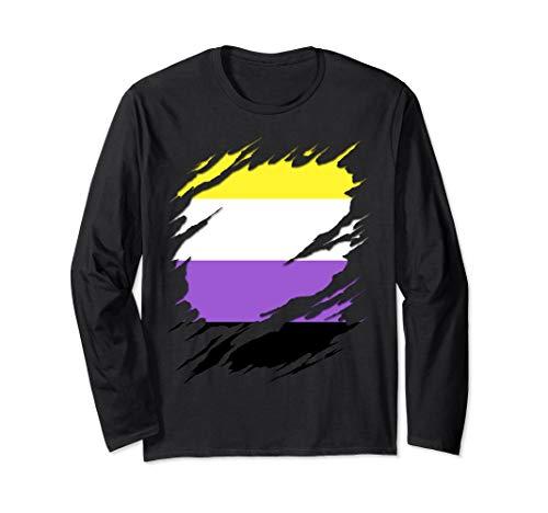 Non-Binary Pride Flag Ripped Long Sleeve T-Shirt