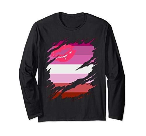 Lipstick Lesbian Pride Flag Ripped Long Sleeve T-Shirt