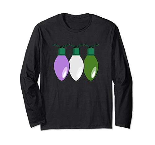 Genderqueer Pride Flag Christmas Lights Long Sleeve T-Shirt