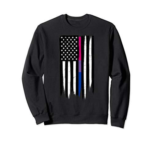 Bisexual Pride Thin Line American Flag Sweatshirt