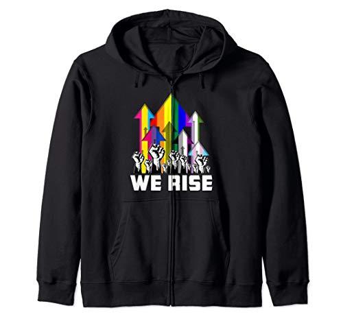 We Rise LGBTQIA Pride Flags Zip Hoodie